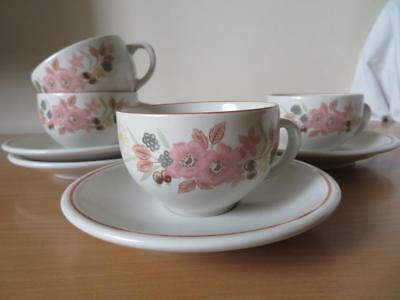 4 x BOOTS HEDGE ROSE TEA CUPS & SAUCERS  V.G.COND