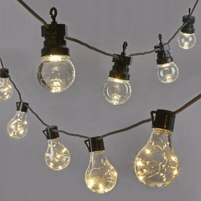 LED Outdoor Garden Festoon String Lights with 10.6m Cable Length - 20 x Lights