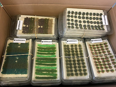 Large Model Scenery Bundle Box A - Mixed Static Grass Tufts Railway Wargames