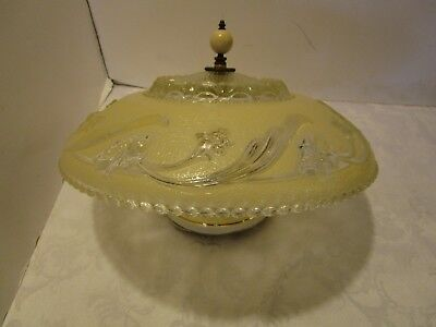 "Antique Art Deco Frosted CREAM Glass chandelier Light FIXTURE 14 ¼"" W 1930-40's"