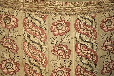Floral Fabric Antique French 18th century c1750 block printed Indienne textile