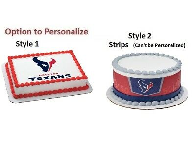 NFL Houston Texans Icing Edible Photo Cake Image Frosting Birthday Decoration