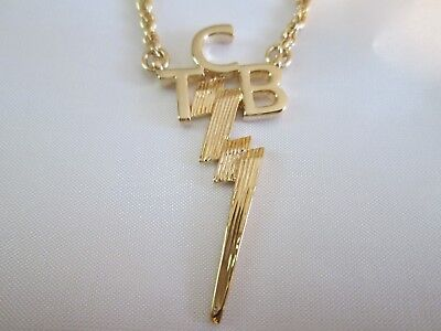 "ELVIS TCB 18K Gold Plated Necklace  By  Lowell Hays Size 23 "" inches"