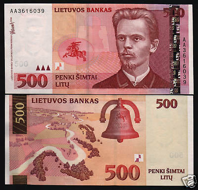 Lithuania 500 Litu P64 2000 *aa* Euro Bell Horse Unc Rare Currency Money Note