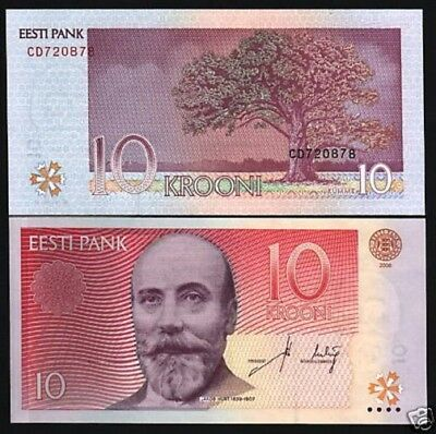 Estonia 10 Krooni P86 2006 Oak Tree Pre Euro Unc Currency Money Bill Bank Note