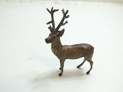 "Vintage Putz 4 1/2"" Tall Painted Lead Metal Stag Deer Marked Germany Larger Size"