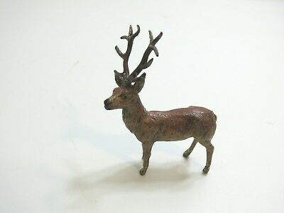 "Vintage 4 1/2"" Tall Painted Lead Metal Stag Deer Marked Germany Larger Size N2"