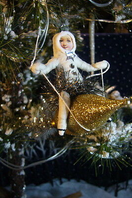 Vintage Inspired Spun Cotton Rocket Girl  Christmas Orn