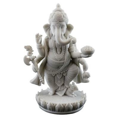 "GANESHA STATUE 7.5"" Standing Hindu Elephant God White Marble Finish Resin Ganesh"