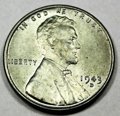 1943-D United States Steel Wartime Lincoln Wheat Cent BU Brilliant Uncirculated