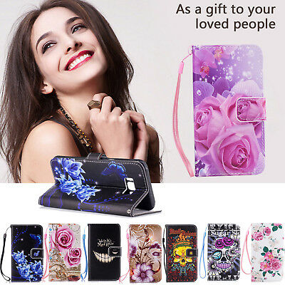Book Flip Wallet Style Leather Case Cover for Samsung Galaxy J7 Prime S8 S9 Plus