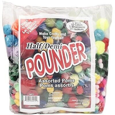 Pepperel Pom Poms Half Pounder Assorted Approximately 750/pkg, Standard -