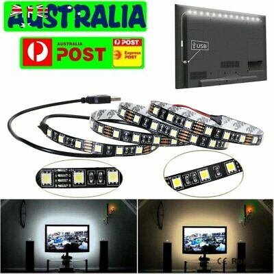 5V SMD 5050 USB Cable Power RGB Warm White LED Strip Home Decor Light 1/2/3/4/5M