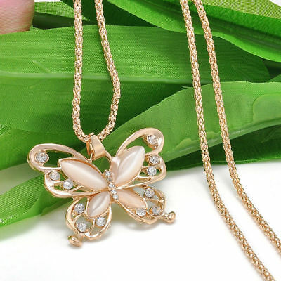 Fashion Women Rose Gold Butterfly Charm Pendant Long Chain Necklace Jewelry New