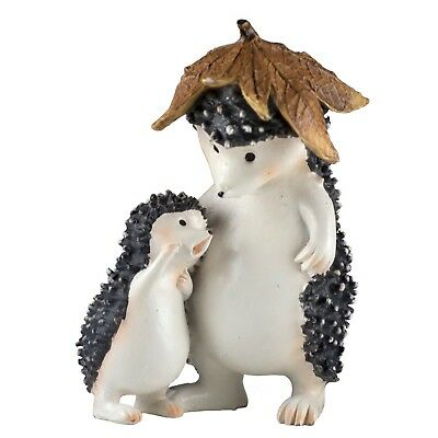 """Hedgehog With Baby Under Leaf Figurine 4.25"""" High Resin New In Box!"""