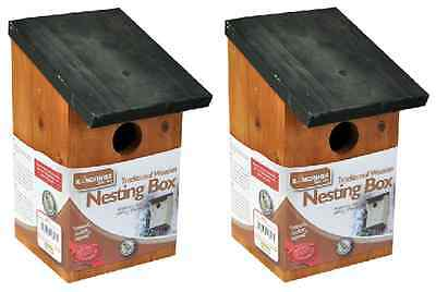 2 X Traditional Small Bird Nesting Boxes Sparrows Blue Tits Wooden Garden Nest