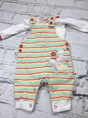 Baby Boy's Dungaree Outfit T-Shirt Striped Pattern White Long Sleeve 0-3 Months