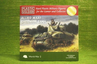 Plastic Soldier WW2 ALLIED M4A1 SHERMAN TANK 20mm 1/72nd scale