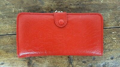 VINTAGE 1960's WOMENS RED LEATHER PURSE WALLET ENGLISH MADE
