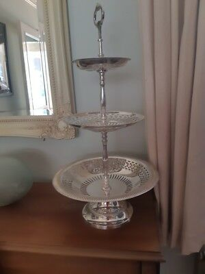 Vintage Silver Plated 3 Tier Cake Stand with pedestal base