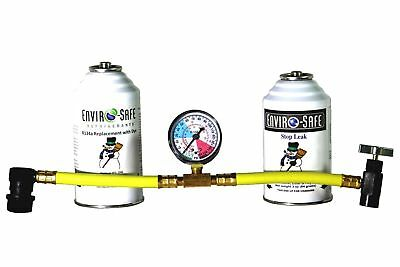 Enviro-Safe Stop Leak & 1 R134a Replacement with Dye Kit & R134 Tap Gauge #RSG-3