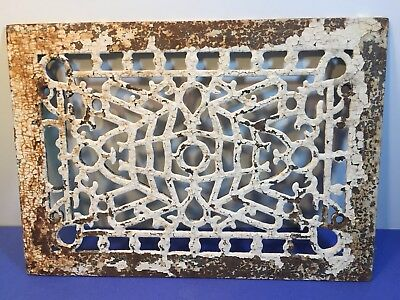 Antique Cast Iron Floor Wall Register Grate Cover, Shabby White Paint 14 x 10""
