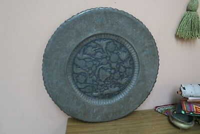 """Vintage Copper Hand Etched Persian Ghalamzani 18"""" Wall Table Tray Birds Deer"""