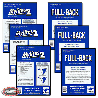 150 - E. GERBER FULL-BACK & MYLITES 2 GOLDEN AGE Mylar Bags & Boards 758FB/800M2
