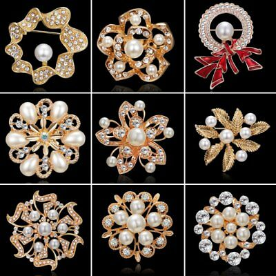 Crystal Pearl Women Flower Bowknot Round Brooch Pin Breastpin Jewelry Wedding