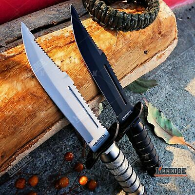 "9"" RAMBO HUNTING FIXED BLADE KNIFE Tactical ARMY BOWIE Razor w/ SURVIVAL KIT"