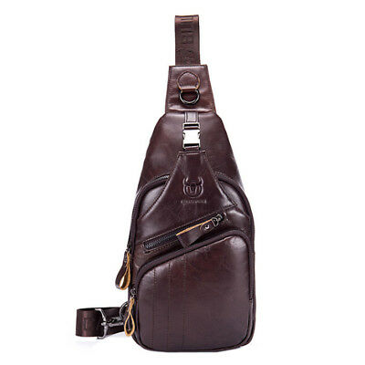 Men Leather Cycle Sling Bag Backpack Shoulder Chest Pack +Headphone Cable Hole