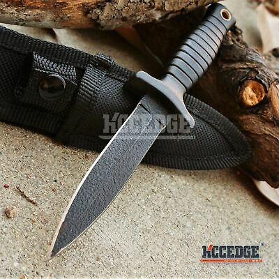 "7"" TACTICAL COMBAT BLACK BOOT KNIFE Spear Point Hunting Military Fixed Blade"