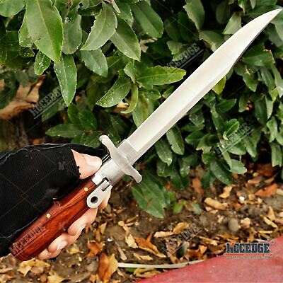 """12"""" German Style Folding Hunting Military Multifunction Knife BUTTON LOCK Wooden"""
