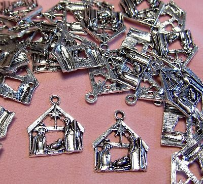 50 Silver Nativity Scene Charms-Silent Night-Bethlehem Star-Holy Family-Manger