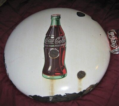 "Antique 24 "" Porcelain Us Coca Cola Soda Glass Bottle Metal Art Advertising Sign"