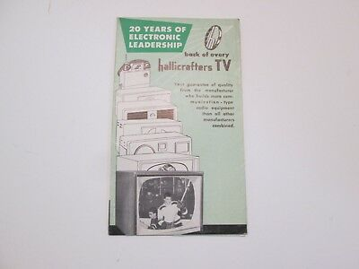 Hallicrafters TV Brochure Foldout Mid 1950's