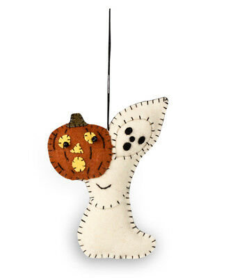 Bethany Lowe Halloween Ghost With Pumpkin Jack O Lantern Fabric Ornament Decor
