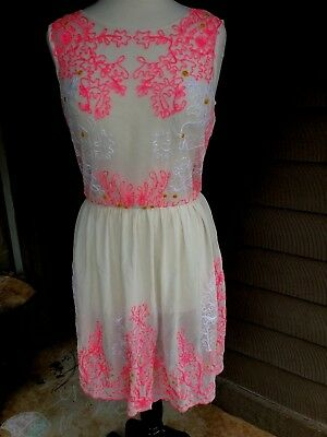 6eb934f754 GIANNI BINI Sheer Floral Embroidered Dress Women s Small Pink on Ivory