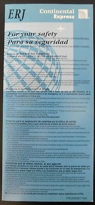Continental Airlines Express Safety Card ERJ 1999 PN 25600017-005