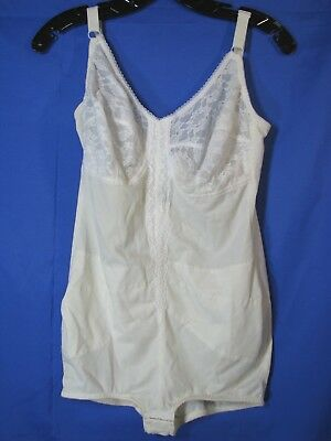 SPIRITE Marianne VINTAGE SHAPER GIRDLE Bodysuit LACE TRIM Pin-Up LINGERIE 38 D
