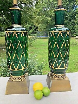 Pair Vintage Hollywood Regency Mid Century Green Gold Painted Glass Table Lamps
