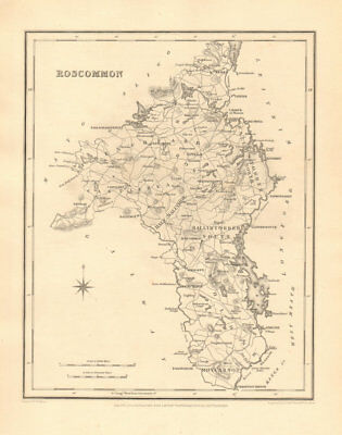 COUNTY ROSCOMMON antique map for LEWIS by CREIGHTON & DOWER - Ireland 1846