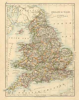 ENGLAND AND WALES Counties Westmorland Telegraph cables JOHNSTON 1892 old map