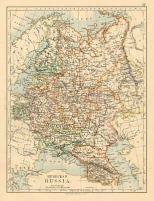EUROPEAN RUSSIA Great/Little/West/South Russia Poland JOHNSTON 1892 old map