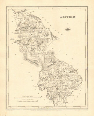 COUNTY LEITRIM antique map for LEWIS by CREIGHTON & DOWER - Ireland 1846