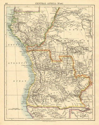 COLONIAL CENTRAL AFRICA French Congo Free State Angola JOHNSTON 1892 old map