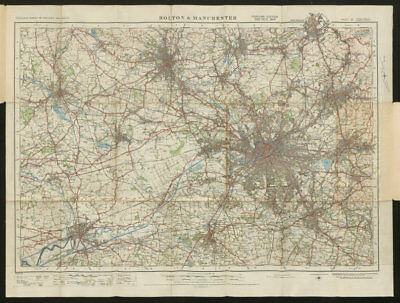 Bolton & Manchester Sheet 36 Wigan Oldham Warrington ORDNANCE SURVEY 1924 map