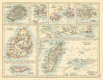 AFRICAN ISLANDS Mauritius Madagascar St Helena Ascension Socotra 1892 old map