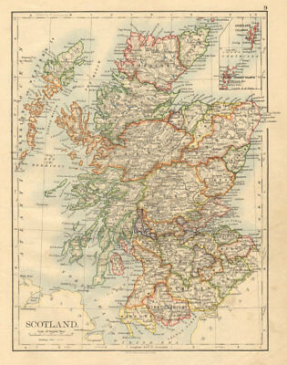 SCOTLAND Counties Undersea telegraph cables JOHNSTON 1892 old antique map