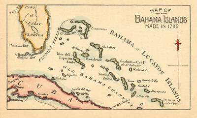 Reproduction of a 1799 Map of the Bahamas Islands 1891 old antique chart